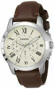 Fossil Grant Fs4735ie Menand039s 44m Chrono Brown Leather Silver Quartz Watch