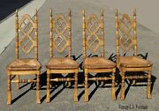 Set Of Four Antique French Country Quarter Sawn Oak And Rush Dining Chairs
