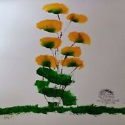 🐘authentic Art Paint Yellow Flower By Wanalee /femalethai Elephent Home Decor