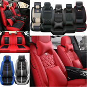 Deluxe Car Seat Cover Front Rear Universal 5-sit Pu Leather Accessories Interior