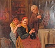 Jules Zermati Italian Fiddler Antique Large Signed Oil On Canvas Painting.