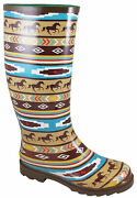 Smoky Mountain Womens Riverbend Brown Rubber Rain Boots