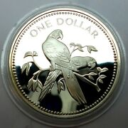 Belize 1 Dollar 1979 Silver Coin Proof - Scarlet Macaw Rare