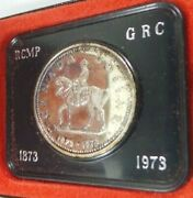 1973 Canadian Silver Dollar Royal Canadian Mounted Police In Original Mint Box