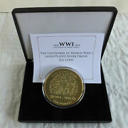 Gibraltar 2014 Centenary Of Wwi £10 5oz Gold Plated Silver Proof - Boxed/coa