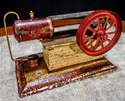 Vintage Antique Early Old Toy Steam Gas Engine Wind Up Model Hit Miss Tin Motor