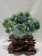 14 Inch Natural Xiuyan Jade Handcarved Home Decorate A Basket Of Fruits Statue