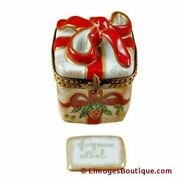 Red Ribbon Christmas Box W/plaque - Limoges Box Authentic Porcelain Figurine Fro