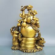 18 And039and039 Brass Copper Furniture Decorate Auspicious Flower Bamboo Wealth Toad Gourd