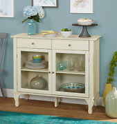 Antique White Dining Room Buffet Sideboard Server Cabinet Glass Doors Kitchen