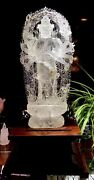 28inch Home Feng Shui Decorate White Rock Crystal Quartz Thousand-hand Guanyin