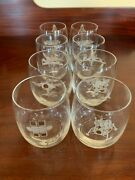 Set Of 8 Vintage Grumman Whiskey Tumblers Etched White Gold Two Apollo Mission