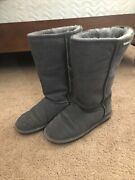 Wms Bearpaw Gray Suede Leather 612 W Emma Tall Sherpa Lined Boots Sz 6 Mid Calf