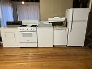 Appliances- Refrigerator Dishwasher Oven With Ventilation Fan Washer And Dryer.