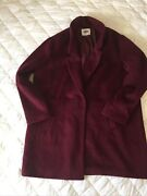 New-old Navy-brushed Wool Blend Plus Size Everyday Coat-maroon-size Xxl
