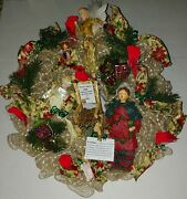 Christmas 24 Cardinal Deco Mesh Wreath Missing Someone Empty Chair Angels Gift
