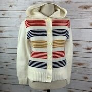 Bistro Vintage 70s Striped Hooded Cardigan Large Buttons