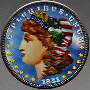 U.s Silver Dollars 3 Coin Set Morgan, Peace And Eisenhower Amazing Colorized Bu