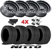 20 Black Wheels Rims Tires 265 50 20 At All Terrain Nitto Fuel Rhino Tuff