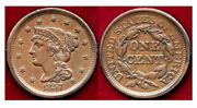 1857 1c- Small Date Eye Appeal Braided Hair Cent++