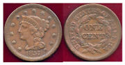 1857 1c- Large Date Eye Appeal Braided Hair Cent++