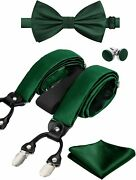 Alizeal Mens Solid Color 6 Clips Suspender And Bow Tie Hanky Cufflinks