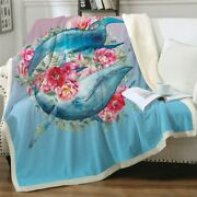 Pink Floral Whale Ocean Sea Sherpa Plush Throw Blanket Fleece Bed Sofa Couch