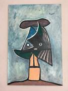 Pablo Picasso Painting Oil On Canvas Signed And Stamped Hand Carved