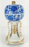 Antique Imperial Japanese Satsuma And Blue And White Porcelain Covered Box As Is