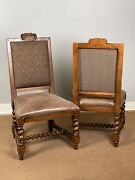 Pair Carved Leather Seat Accent Side End Chairs Paisley Fabric