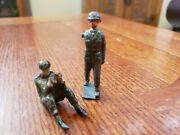 Lot Of 2 Antique Vintage Cast Iron Metal Army Man Tank Sitting Soldier Military