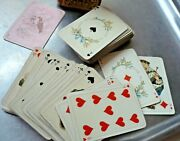 Antique /vintage Miniature Patience Playing Cards In Tooled Leather Case