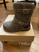 Ugg Uggs Toddler Girl Boots Harwell Bomber Brown Size 8