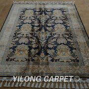 Yilong 4.6and039x6.6and039 Handknotted Silk Area Rug Kid Friendly Classic Carpet 1776