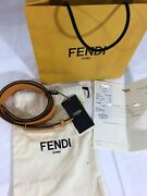 Nwt 770 Authentic Fendi Womens Belt Yellow Genuine Leather Made In Italy 80