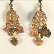 Whimsical Earrings Of Vintage Metal Cracker Jack Charms Prizes Love And Luck