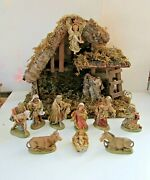 Vintage Nativity Set Wood Stable Italy 10 Figures