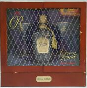 Rare Crown Royal Special Reserve Whiskey Cabinet Bottle With Glasses And Flask