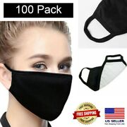 100 Pack Black Fabric Face Mask-washable Breathable Reusable 4-layer Mask