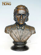19and039and039 Art Deco Sculpture Musician Wagner Young Age Bust Bronze Statue