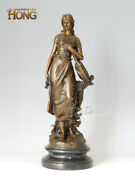 22and039and039 Art Deco Sculpture Goddess Woman Girl With Violin Bronze Statue
