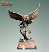 21 Art Deco Sculpture Owl Animal Stand On Branch Marble Base Bronze Statue