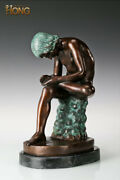 18and039and039 Art Deco Sculpture Nude Boy Pluck Thorn Painted Statue