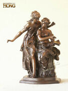 16 Art Deco Sculpture Two Lady Girl Sisters Read Book Bronze Statue