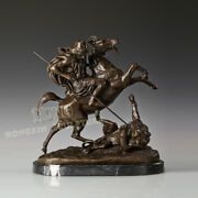 18and039and039 Art Deco Sculpture Knight Ride Horse Stab Lion Bronze Statue
