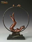Art Deco Sculpture Abstract Woman Girl Lying In The Circle Bronze Statue
