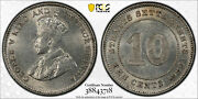 Straits Settlements 1926 10 Cents Pcgs Ms62 Pc0914 Combine Shipping