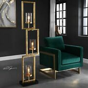 Cielo 64 Aged Gold Staggered Steel Floor Lamp Glass Globes Uttermost