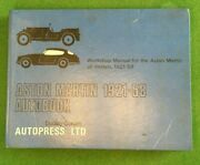 Aston Martin 1921-58 By Dudley Coram Workshop Manual For All Models 1921-58