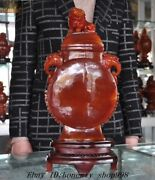 Chinese Natural Agate Onyx Hand Carving Foo Dog Beast Statue Zun Bottle Jar Vase